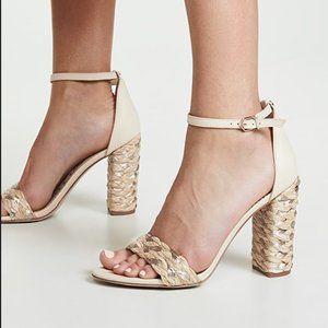 Sam Endelman Yoana Woven Trim Sandal Heel Size 10